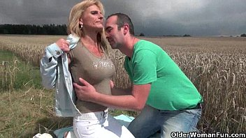 sexy senior lady with big man fuck lady tits gets fucked outdoors