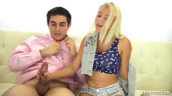 super cute teen hanjob on pronesex the couch
