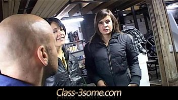 two brunette girl and boy sex sluts pay the mechanic with threesome