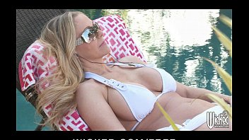 sexy bikini clad milf rides tommys bookmarks her delivery boy s cock by the pool