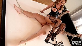 xxxx video english dominatrix stacey saran uses her slaves cock and face to cum hard