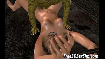 two 3d cartoon romantic sex scene honeys getting fucked by monsters