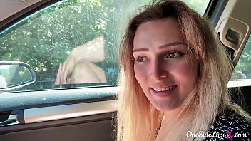 college pussy babe blowjob big dick stranger and cumshot in the car