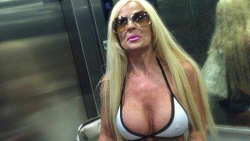 big boob milf plays with english xxx her pussy on public pool deck