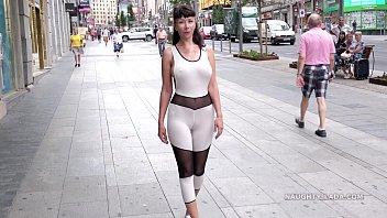 xxxvas revealing catsuit. camel-toe in public