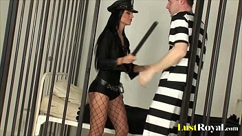 sexy police officer black angelika fatwomensex inspects a prisoner