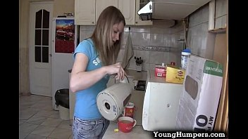 teen girl taking it deep in be xxxx the kitchen