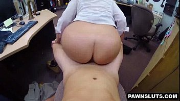 brunette babe girl and girl sex vedio getting a facial at the pawn shop