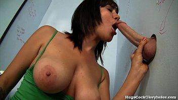 busty girl poen com sucks a big dick at public gloryhole