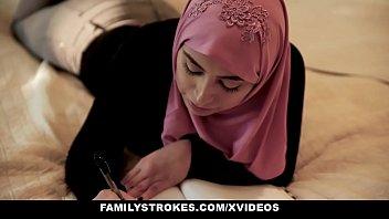 familystrokes - girls xxxx pakistani wife ella knox rides cock in hijab