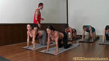 cfnm my first sex teacher sara jay yoga milf group closeup swapping cum