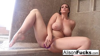 alison rubs herself to playing with tits completion in a giant steamy shower