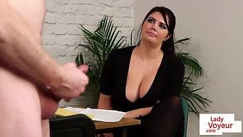 bigtitted british www xxx vidio come voyeur encourages her sub
