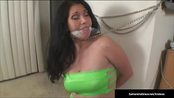 in adult movie sites debt diva samantha grace stopped bound and made to pay her debts