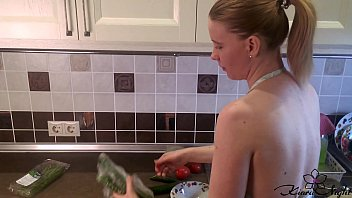 housewife sensual play pussy hot xxnx during cooking dinner - amateur