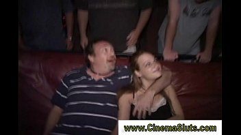 horny whore gives head kissing naked girl in cinema