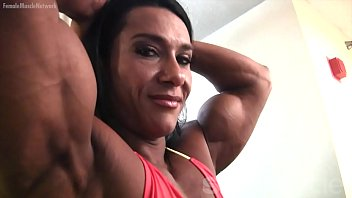 pro female bodybuilder sexy girls having sex poses and shows off her physique