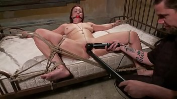tied up www sexi vidios sub toy fucked while gagged by her master