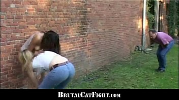 rough catfight seducing boss at a carwash
