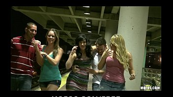 three hot sluts 9 taxi start orgy in public while waiting for the train