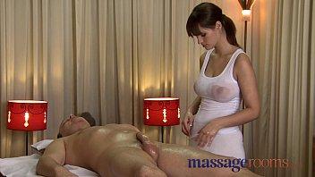 massage rooms rita oils up her huge juicy breasts on a big womenfuck throbbing cock
