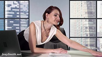 downblouse wwwixxxcom at work -- boss flashing her tits and pussy
