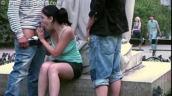 cute teenage girl fucking sexvideo on a public street by a famous statue