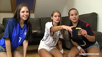 lucky guy fucks sexy gril his 3 world cup cheering teen neighbors