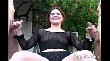 horny girl sexy gril enjoying two cocks outdoors