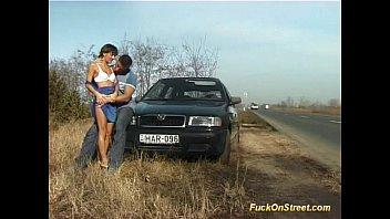 crazy amateur girl porne gets cum next to car