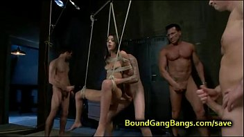 bound suspended babe          double penetrated