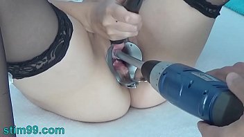 peehole play with forced lesbian sex drilldo and bladder filled with cum and piss