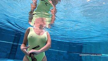 my transparent when wet sex on bike one piece swimwear in public pool