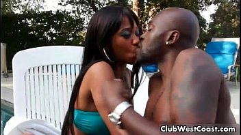 horny black couple by the nnx com pool warming