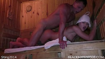 muscular man found muslimsexvideo the busty beauty masturbating in the sauna and hard fucked her