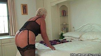 chubby www xxx sixe granny in black stockings masturbates