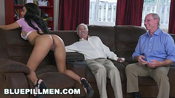 blue pill men - a couple of nude bath old men have fun with young black goddess aaliyah hadid