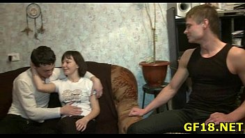 he pushes hard cock in pussy voyeur style com of happy teen cutie from the behind