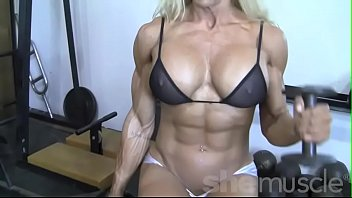 sexy blonde female bodybuilder in see through top new sex video play works out