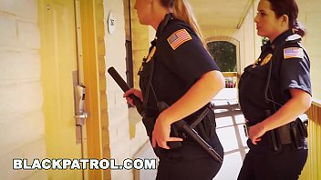 black patrol - white cops with big tits riding beautiful naked woman big black cock on the job