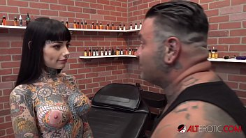 tiger watching porn with mom lilly gets a forehead tattoo while nude