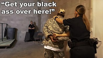 black patrol porm sex - fake soldier gets used as a black fuck toy by white cops