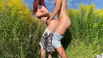 sex with russian wife on the very sexy video field with flowers. public place kleomodel