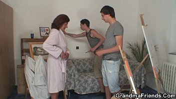 naughty granny www sexvideos co swallows two young dicks