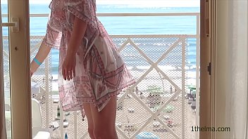 window flash. exhibitionist wife caught when she xxxfk show her nude body at the window. amateur