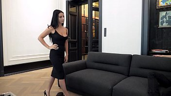 escort casting - dark hair big sex gril and boy breast romanian nelly kent gets put on leash