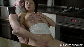 old goes young - sexy brunette gerra girls twirking naked and her man