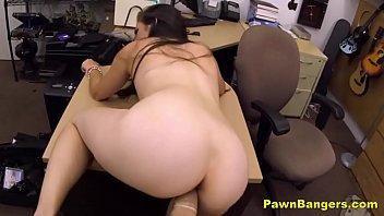 brunette milf takes huge cock public pussy flash in desk fuck