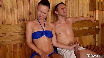 sauna slut how to masterbates taylor sands sucks off 2 strangers cocks