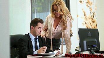 busty office secretary banged nude live over the table